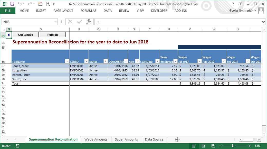 super reconciliation report added to excelreportlink payroll pivot