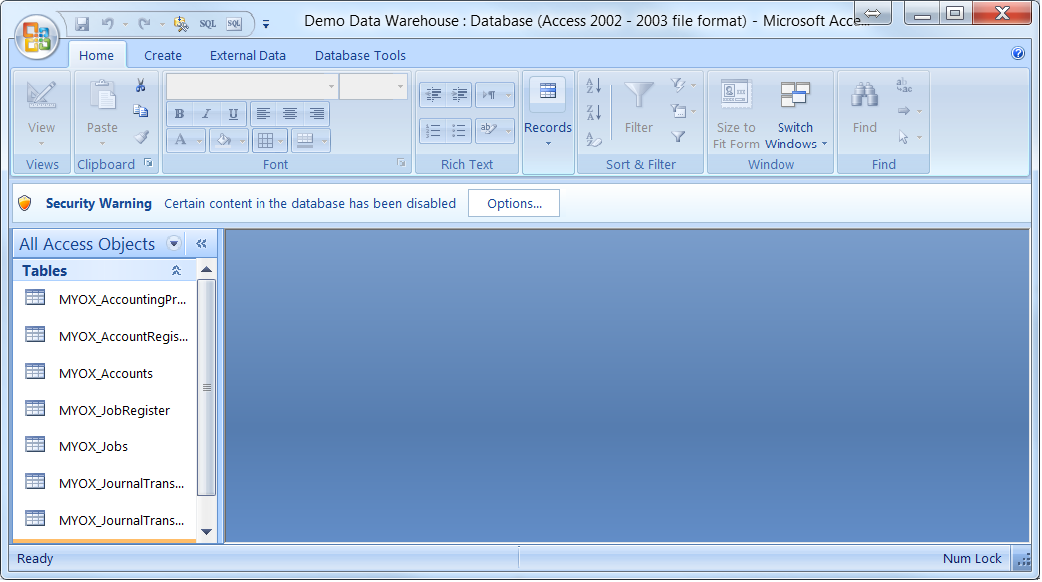 Edit the data warehouse using Microsoft Access